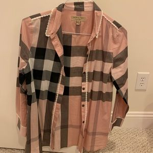 Burberry pink plaid shirt with box